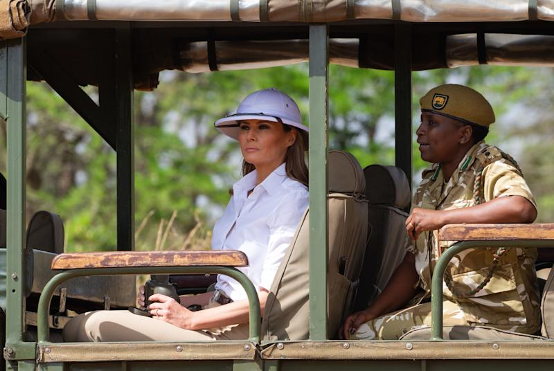Melania Trump wears colonial era helmet on Africa tour