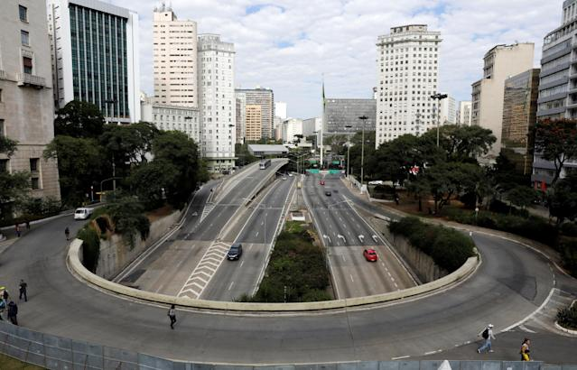A general view of an empty main avenue during the World Cup Group E soccer match between Brazil and Costa Rica in downtown Sao Paulo, Brazil June 22, 2018. REUTERS/Paulo Whitaker