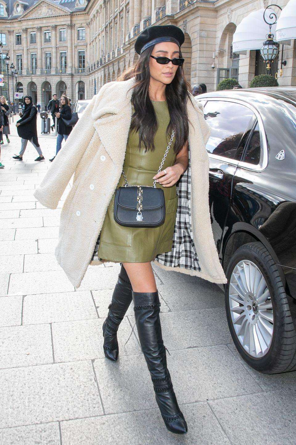 <p>Feel like you're strutting through the streets of Paris, when you're really just walking to class with Shay's high-fashion textures. Just pile on all the faux leather in your closet, then top with a teddy coat and beret. </p>