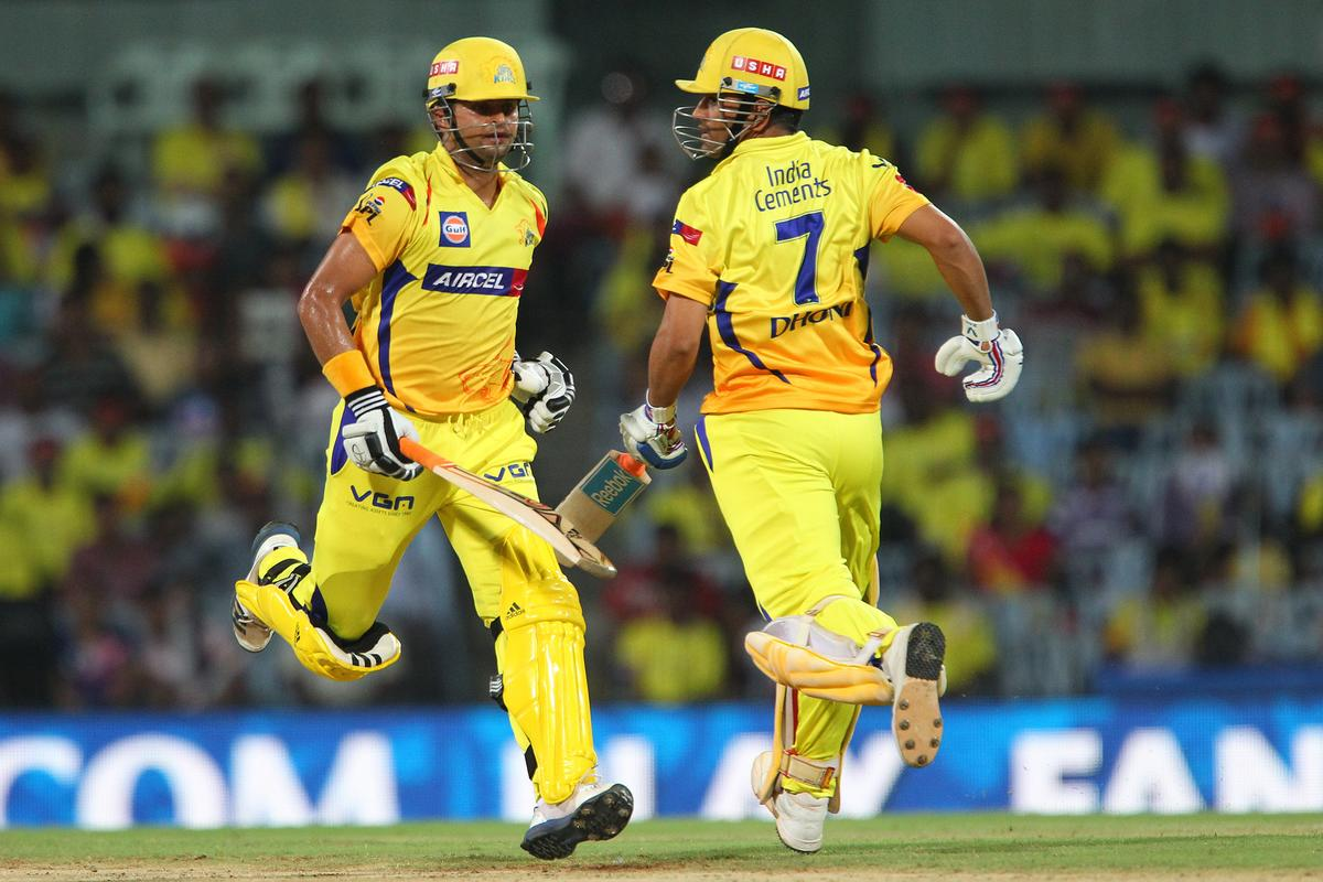 Suresh Raina and MS Dhoni during match 34 of the Pepsi Indian Premier League between The Chennai Superkings and the Sunrisers Hyderabad held at the MA Chidambaram Stadiumin Chennai on the 25th April 2013. (BCCI)