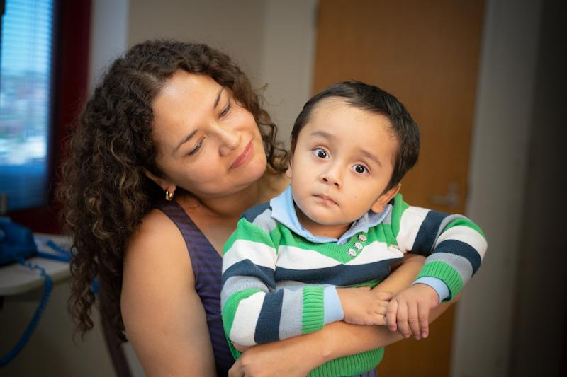 """Gael Jesus Pino Alva, 2, and his mother, Giannina Alva. Gael was treated with a new therapy designed to fight X-linked severe combined immunodeficiency (SCID-X1), a genetic condition known as """"bubble boy"""" disease, at St. Jude Children's Research Hospital."""