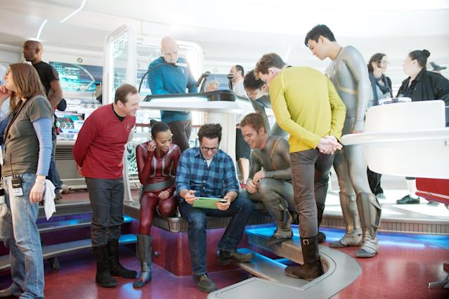 J.J. Abrams and his <em>Enterprise</em> crew on the set of <em>Star Trek: Into Darkness.</em> (Photo: Zade Rosenthal/Paramount Pictures/Courtesy Everett Collection)