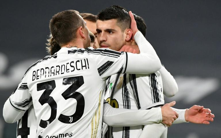 Morata (C) opened the scoring for Juventus from the penalty spot