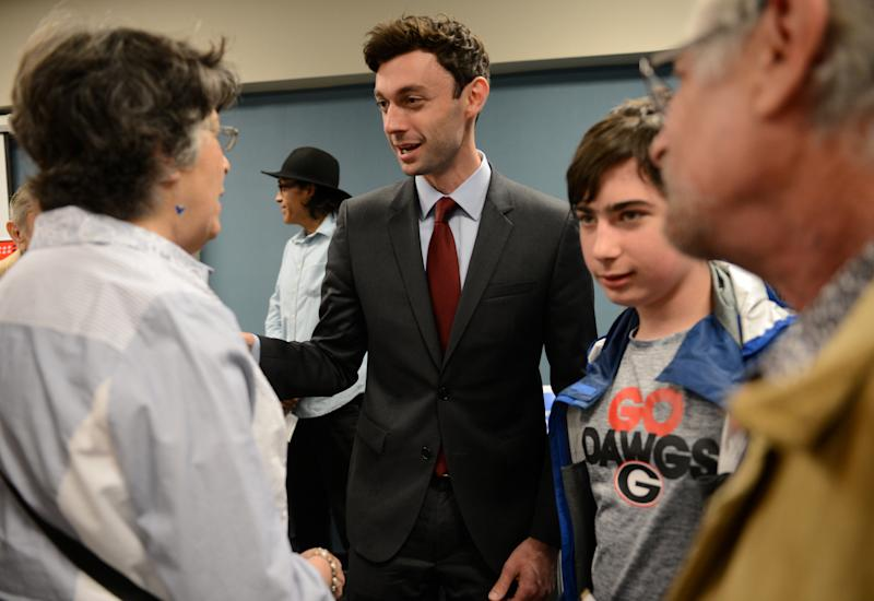 Democratic candidate Jon Ossoff greets supporters after the League of Women Voters' candidate forum for Georgia's 6th Congressional District special election to replace Tom Price, who is now the secretary of Health and Human Services, in Marietta, Georgia, U.S. April 3, 2017. Picture taken April 3, 2017.  REUTERS/Bita Honarvar