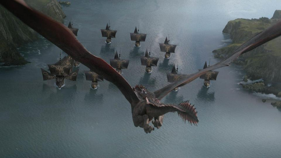 """<p>Oh, where to begin with the death of Rhaegal? As hard as Euron and the Lannister army are working to perfect those terrifying Scorpion weapons, Rhaegal is simply done dirty, especially when you factor in the unbelievable fiery hellscape Drogon turns King's Landing into during """"The Bells."""" Seriously, Rhaegal survives being mounted and stabbed by <em>dozens</em> of wights during the Battle of Winterfell, and this is how he goes down? While there's no doubt Rhaegal is flying after being critically injured from the battle - just look at the holes in his wings! - <a href=""""https://www.popsugar.com/entertainment/Rhaegal-Dragon-Dead-Game-Thrones-46111267"""" rel=""""nofollow noopener"""" target=""""_blank"""" data-ylk=""""slk:his death is a little too convenient for our liking"""" class=""""link rapid-noclick-resp"""">his death is a little too convenient for our liking</a> and doesn't do him justice. RIP.</p>"""