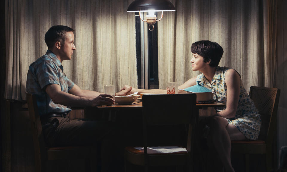 """This image released by Universal Pictures shows Ryan Gosling, left, and Claire Foy in a scene from """"First Man."""" (Daniel McFadden/Universal Pictures via AP)"""