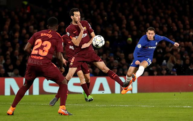 Soccer Football - Champions League Round of 16 First Leg - Chelsea vs FC Barcelona - Stamford Bridge, London, Britain - February 20, 2018 Chelsea's Eden Hazard shoots at goal Action Images via Reuters/Andrew Boyers