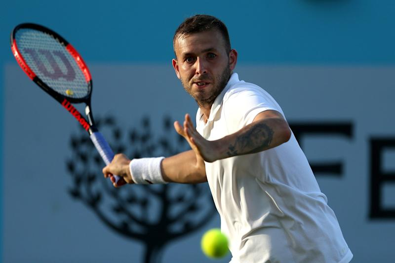 Missing out: Dan Evans lost to Adrian Mannarino at Queen's on Tuesday: PA