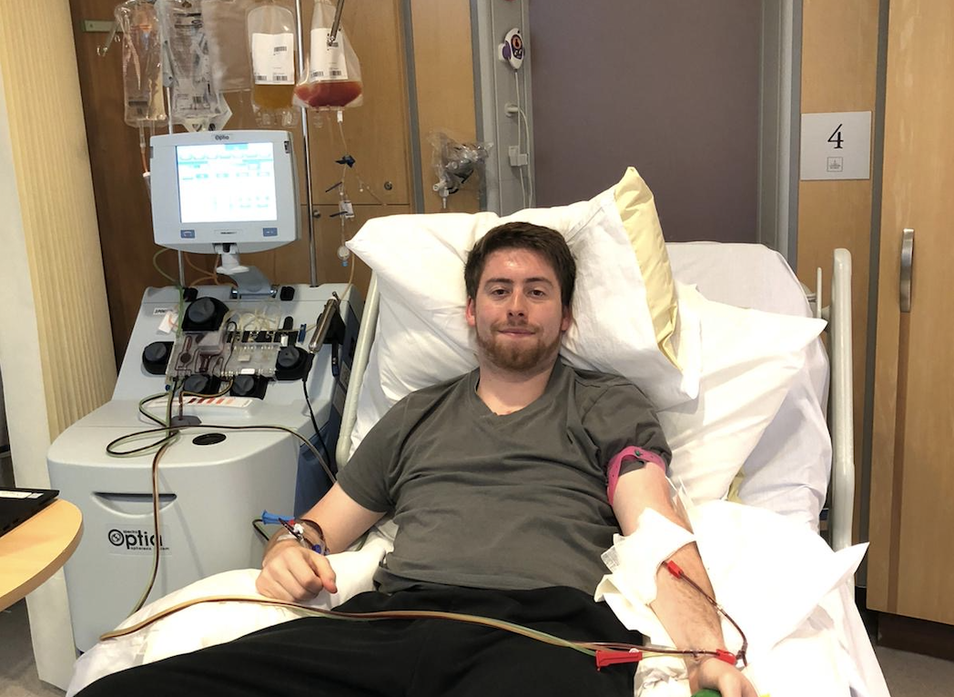 Sam Schmidt spent a day in hospital in May 2020, having his stem cells collected while 'watching Netflix'. (Supplied: DKMS)