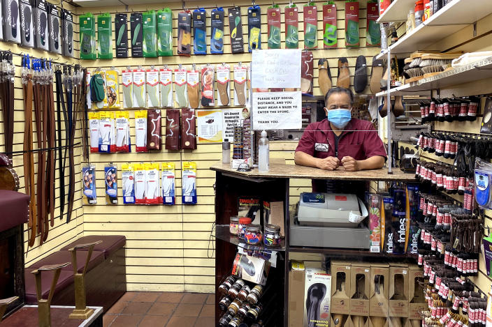 Teodor Morcho, 55, has already shut down one of the two locations of Anthony's Shoe Repair. (Ben Kesslen / NBC News)