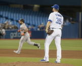 Toronto Blue Jays pitcher Brock Stewart stands on the mound after giving up a two-run home run to Baltimore Orioles DJ Stewart, left, during the sixth inning of a baseball game Tuesday, Sept. 24, 2019, in Toronto. (Fred Thornhill/The Canadian Press via AP)