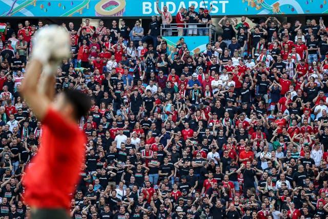 Fans attend the Euro 2020 Group F match between Hungary and Portugal at the Ferenc Puskas Stadium in Budapest, Hungary