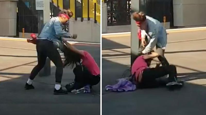The woman was stomped, kicked and punched on a Melbourne train platform. Source: Facebook.