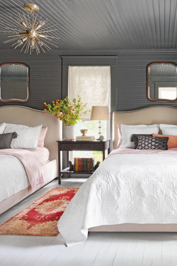 <p>Mirrors are the perfect blend of style and function. Place one above each of your guest room beds to brighten up the space and make it appear larger. </p>