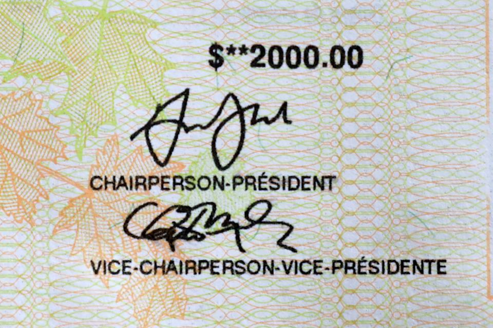 Part of a cheque for the $2,000 Canada Emergency Response Benefit (CERB), a taxable award from the Canadian government made every 4 weeks for up to 16 weeks to eligible workers who have lost their income due to coronavirus disease (COVID-19), is seen in Toronto, Ontario, Canada April 16, 2020. REUTERS/Chris Helgren