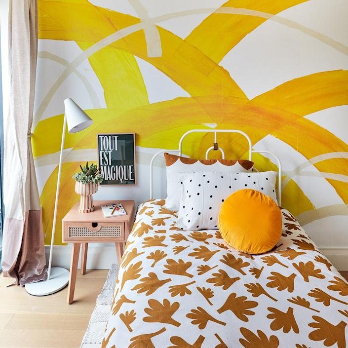 This tweens' room inside the 2020 Real Simple Home is defined by its ample use of energizing yellow.