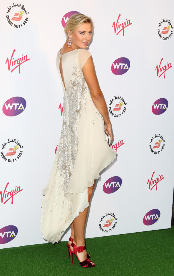 LONDON, ENGLAND - JUNE 21:  Maria Sharapova attends the Pre-Wimbledon Party at Kensington Roof Gardens on June 21, 2012 in London, England. (Photo by Mike Marsland/Wireimage)
