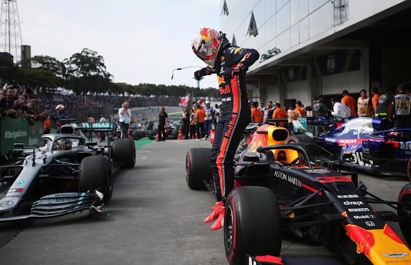 Formula One F1 - Brazilian Grand Prix - Autodromo Jose Carlos Pace, Interlagos, Sao Paulo, Brazil - November 17, 2019 Red Bull's Max Verstappen celebrates after winning the race REUTERS/Ricardo Moraes