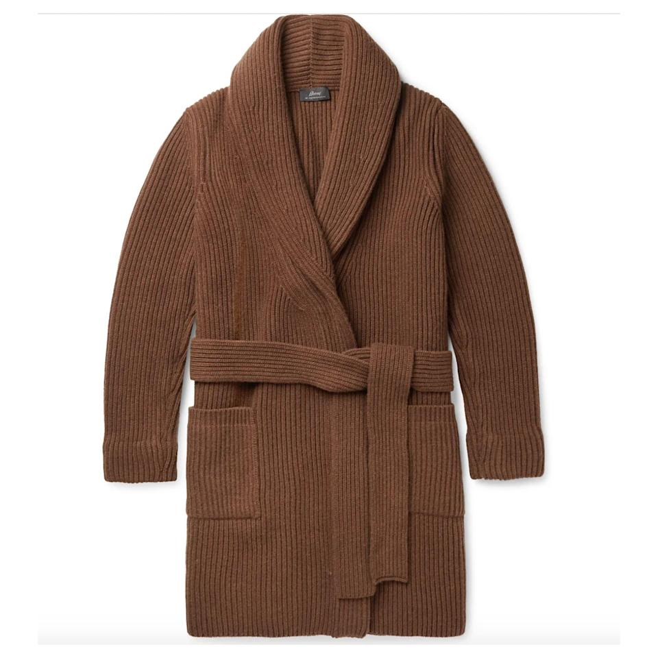 """<p><strong>Brioni</strong></p><p>mrporter.com</p><p><strong>$3400.00</strong></p><p><a href=""""https://go.redirectingat.com?id=74968X1596630&url=https%3A%2F%2Fwww.mrporter.com%2Fen-us%2Fmens%2Fproduct%2Fbrioni%2Fclothing%2Fcardigans%2Fshawl-collar-belted-ribbed-wool-and-cashmere-blend-cardigan%2F46353151655121858&sref=https%3A%2F%2Fwww.esquire.com%2Fstyle%2Fmens-fashion%2Fg34601477%2Fbest-new-menswear-november-14-2020%2F"""" rel=""""nofollow noopener"""" target=""""_blank"""" data-ylk=""""slk:Shop Now"""" class=""""link rapid-noclick-resp"""">Shop Now</a></p>"""