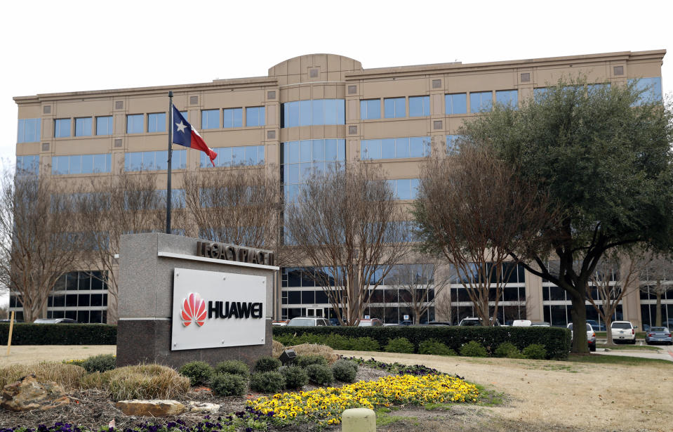 <p> FILE - In this Thursday, March 7, 2019 file photo, the Texas state flag files outside the Huawei Technologies Ltd. business location in Plano, Texas. President Donald Trump issued an executive order Wednesday, May 15, 2019, apparently aimed at banning equipment from Chinese telecommunications giant Huawei from U.S. networks. It does not name specific countries or companies and gives the Department of Commerce 150 days to come up with regulations. (AP Photo/Tony Gutierrez, File) </p>