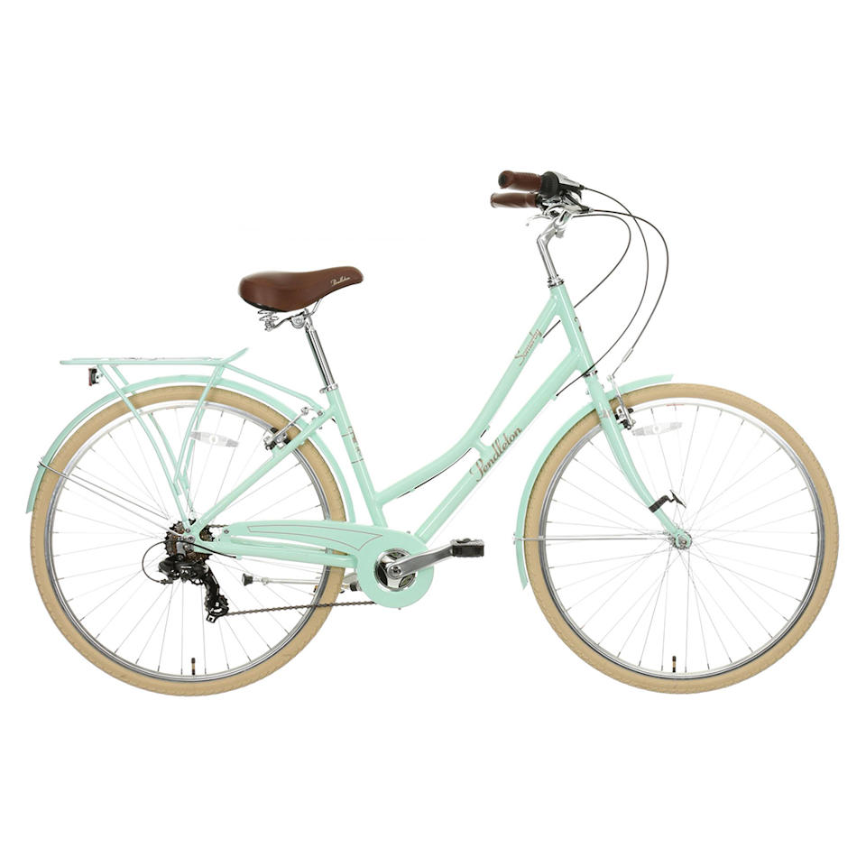 """<p><a class=""""link rapid-noclick-resp"""" href=""""https://go.redirectingat.com?id=127X1599956&url=https%3A%2F%2Fwww.halfords.com%2Fbikes%2Fhybrid-bikes%2Fpendleton-somerby-hybrid-bike-mint---17in-19in-frames-507514.html&sref=https%3A%2F%2Fwww.womenshealthmag.com%2Fuk%2Fgym-wear%2Fg32740535%2Fbest-bikes%2F"""" rel=""""nofollow noopener"""" target=""""_blank"""" data-ylk=""""slk:CHECK STOCK"""">CHECK STOCK</a></p><p>Price: £280.00</p><p>Unless your local Halfords shop has this bike in stock, you'll have to wait to buy – more stock of this beautiful bike is expected in June. If you're looking for a classic-looking hybrid bike at an affordable price, then this is the one to go for: the stylish mint step-through frame looks like it belongs in a film. Coupled with the fact that it's under £300, what's not to like? </p><p><strong>Number of gears: </strong>7 </p><p><strong>Frame: </strong>Alloy step-through frame</p><p><strong>Back in stock: </strong>June </p>"""