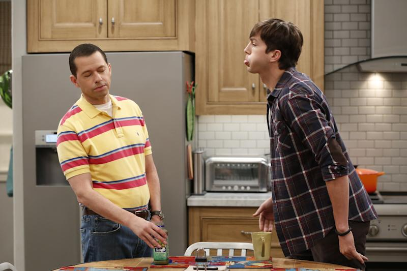 "LOS ANGELES - OCTOBER 23: ""Alan Shot A Little Girl"" -- When Alan realizes Louis thinks he's cool, he starts breaking Walden's rules to stay cool, on TWO AND A HALF MEN, Thursday, Dec 4 (9:00-9:30PM, ET/PT), on the CBS Television Network. Pictured L-R: Jon Cryer as Alan Harper and Ashton Kutcher as Walden Schmidt (Photo by Cliff Lipson/CBS via Getty Images)"