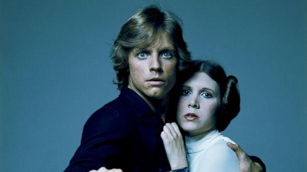 PHOTO: American actors Mark Hamill and Carrie Fisher in costume as brother and sister Luke Skywalker and Princess Leia in George Lucas' Star Wars trilogy in this 1977 file photo. (Terry O'Neill/Getty Images)