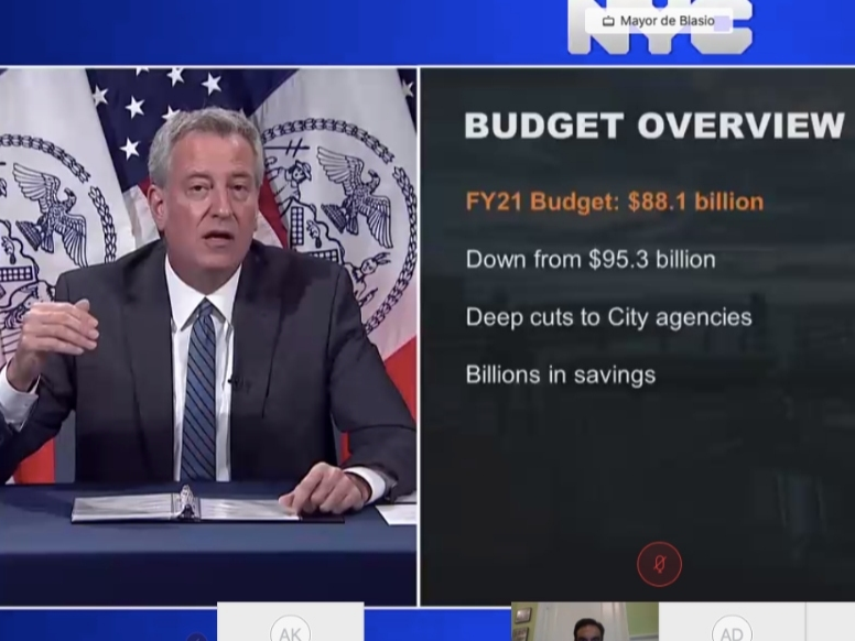 """Coronavirus losses and police reform demands loom over 2021 budget that Mayor Bill de Blasio called the city's """"toughest"""" in decades."""