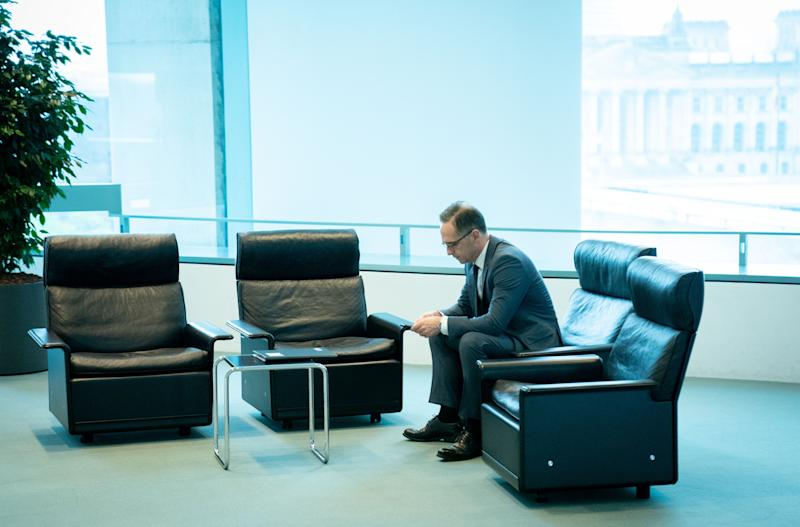 06 November 2019, Berlin: Heiko Maas (SPD), Foreign Minister, is waiting in the Federal Chancellery for the start of the Federal Cabinet meeting. One of the topics was the mid-term review of the Federal Government. Photo: Kay Nietfeld/dpa (Photo by Kay Nietfeld/picture alliance via Getty Images)
