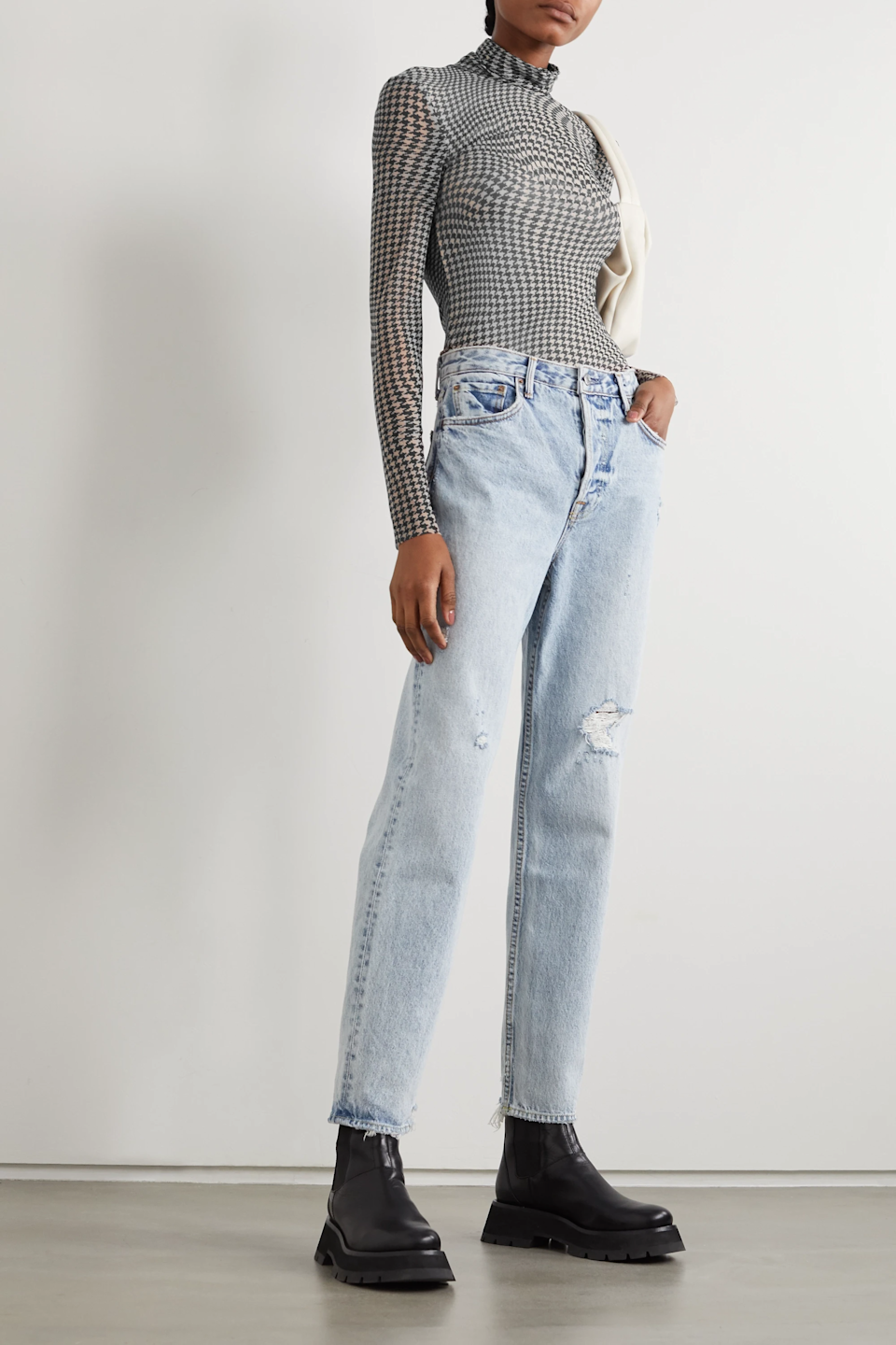 """<h2>Net-A-Porter</h2><strong>Sale:</strong> Designer sale now up to 80% off<br><strong>Dates:</strong> Ends soon<br><strong>Promo Code:</strong> None<br><br><em>Shop <strong><a href=""""https://www.net-a-porter.com/en-us/shop/sale/all/"""" rel=""""nofollow noopener"""" target=""""_blank"""" data-ylk=""""slk:Net-A-Porter"""" class=""""link rapid-noclick-resp"""">Net-A-Porter</a></strong></em><br><br><strong>Ganni</strong> Puppytooth Stretch-mesh Turtleneck Top, $, available at <a href=""""https://go.skimresources.com/?id=30283X879131&url=https%3A%2F%2Fwww.net-a-porter.com%2Fen-us%2Fshop%2Fproduct%2Fvanina%2Fdaisy-faux-pearl-and-gold-tone-tote%2F1261812"""" rel=""""nofollow noopener"""" target=""""_blank"""" data-ylk=""""slk:Net-A-Porter"""" class=""""link rapid-noclick-resp"""">Net-A-Porter</a>"""