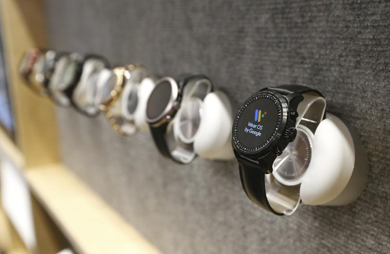 The Google Wear OS watches are on display at CES International, Tuesday, Jan. 8, 2019, in Las Vegas. (AP Photo/Ross D. Franklin)