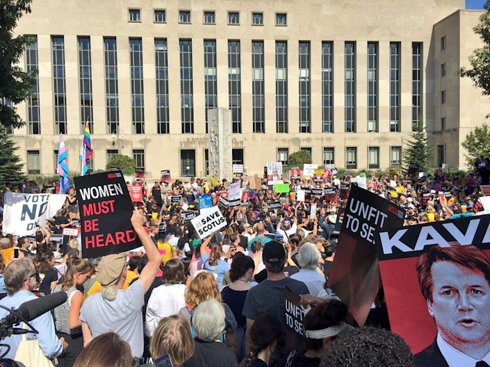 Demonstrators gather outside Supreme Court nominee Brett Kavanaugh's courthouse in Washington on Oct. 4 to protest his possible confirmation. (Photo: Courtesy of Sierra Club / @SierraClubLive)