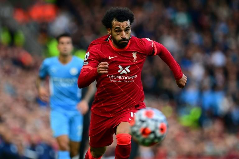 Livepool star Mohamed Salah chases after the ball in a Premier League match against Manchester City at the weekend (AFP/Paul ELLIS)