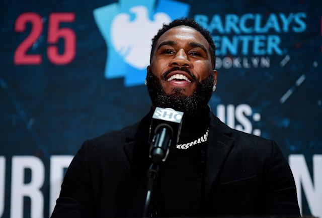 Jarrett Hurd speaks at a news conference on Dec. 18, 2019, for his upcoming super welterweight fight against Francisco Santana in New York. Hurd will fight Santana on Saturday at Barclays Center. (Emilee Chinn/Getty Images)