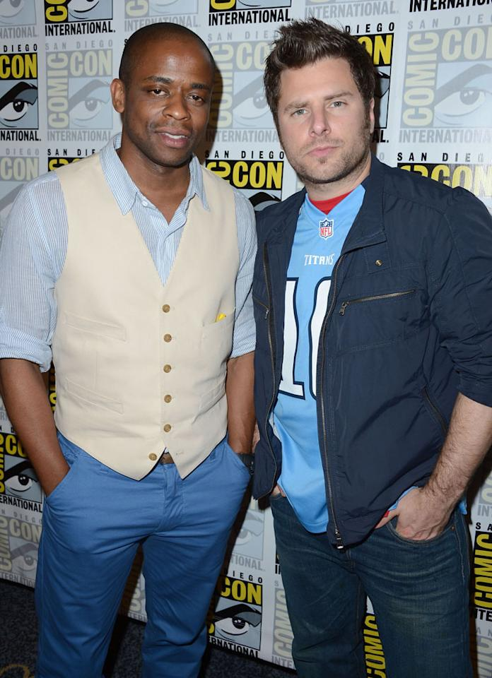 """Dule Hill and James Roday (""""Psych"""") at Comic-Con International on July 12, 2012 in San Diego, California."""