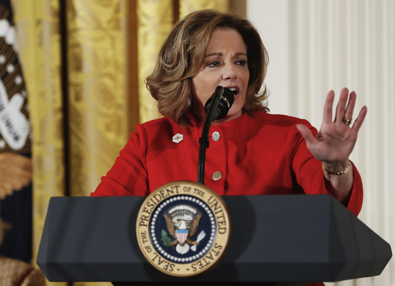 "FILE - In this March 29, 2017, file photo, Deputy National Security Adviser K.T. McFarland speaks at the Women's Empowerment Panel, at the White House in Washington. President Donald Trump said Feb. 2, 2018, that McFarland had withdrawn from consideration to be ambassador to Singapore, expressing his ""disappointment."" He said McFarland served his administration ""with distinction"" and said Democrats ""chose to play politics rather than move forward with a qualified nominee for a critically important post."" (AP Photo/Pablo Martinez Monsivais, File)"