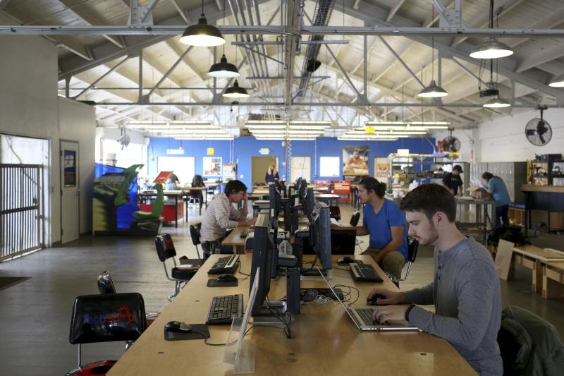 Designers work at computer stations at TechShop in the South of Market neighborhood in San Francisco