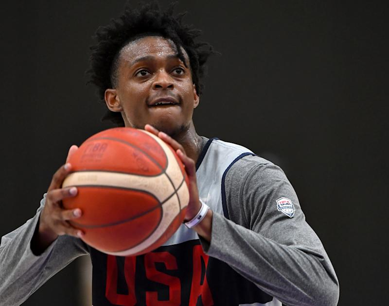 EL SEGUNDO, CA - AUGUST 15: De'Aaron Fox #20 shoots a free throw during the 2019 USA Men's National Team World Cup training camp at UCLA Health Training Center on August 15, 2019 in El Segundo, California. (Photo by Jayne Kamin-Oncea/Getty Images)