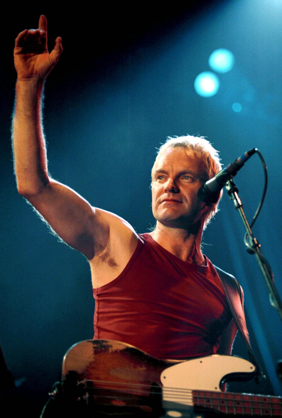 "Music superstar Sting, shown performing September 24, 2000 at a concert in Johannesburg, will be honored December 8, 2000 with the 2,168th star on the Hollywood Walk of Fame. Sting has won 14 Grammy awards during his career, acted on stage and screen and most recently, written the songs for ""The Emperor's New Groove,"" a Walt Disney film opening December 15, 2000. BK/JP"
