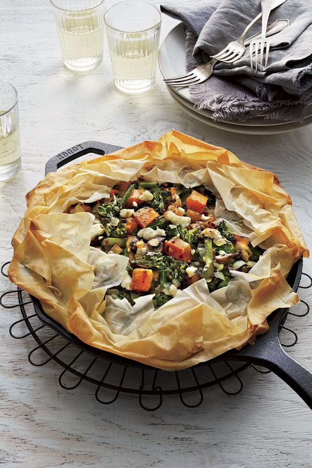 """<p><b>Recipe: <a href=""""https://www.southernliving.com/recipes/skillet-vegetable-pie"""">Skillet Vegetable Pie</a></b></p> <p>Tiring of winter chicken pot pie suppers? Let this rustic veggie pie grace your dinner table.</p>"""