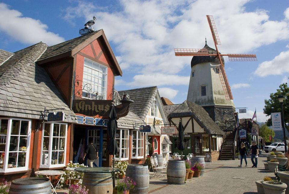 <p>Not very far from sunny Santa Barbara, you'll find Solvang, which could easily be confused for a Scandinavian city. There are authentic Scandinavian bakeries, a fall Danish Days celebration, a replica of Copenhagen's Little Mermaid sculpture, and a reproduction of Copenhagen's Rundetårn. Add in windmills and thatched roof, and you've got a picture perfect Dutch-inspired wonderland right on the West Coast. </p>