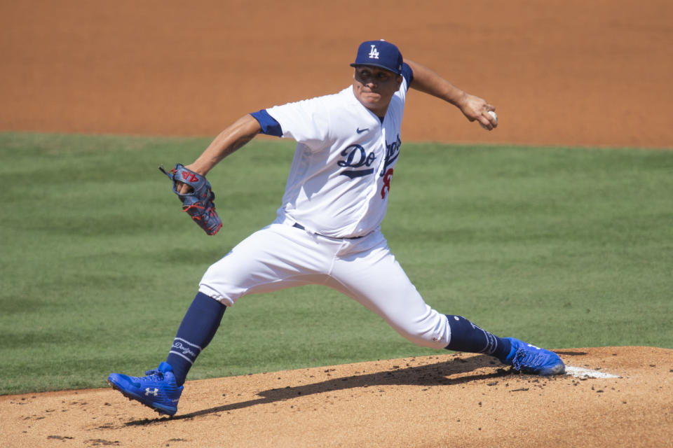 Los Angeles Dodgers starting pitcher Victor Gonzalez delivers during the first inning of a baseball game against the Los Angeles Angels in Los Angeles, Sunday, Sept. 27, 2020. (AP Photo/Kyusung Gong)