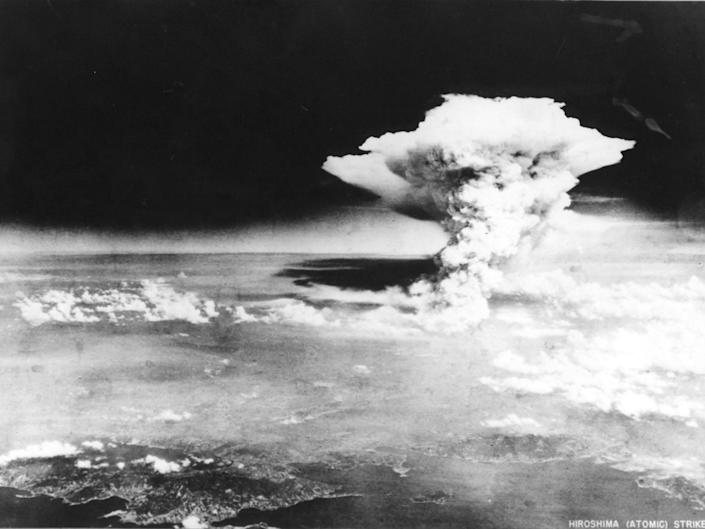 Photograph taken on 6 August 1945 by the US Army and released via the Hiroshima Peace Memorial Museum shows a mushroom cloud caused by the atomic bomb dropped by the B-29 bomber Enola Gay over the city of Hiroshima: US ARMY/AFP/Getty