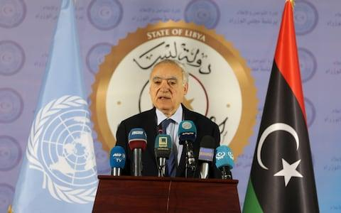 The U.N. Envoy for Libya, Ghassan Salame, speaks during a news conference in Tripoli, Libya April 6, 2019.  - Credit: REUTERS/Hani Amara