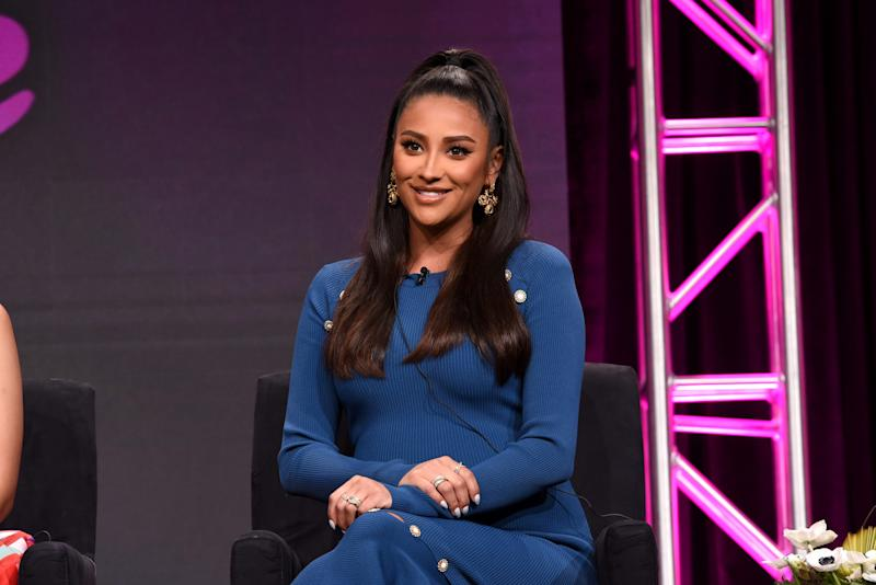 Shay Mitchell speaks onstage during the Hulu 2019 Summer TCA Press Tour.