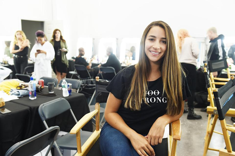 """Aly Raisman backstage at Olay's """"Face Anything"""" New York Fashion Week Make-Up Free Runway Show. (Photo: Ilya S. Savenok/Getty Images for Olay)"""