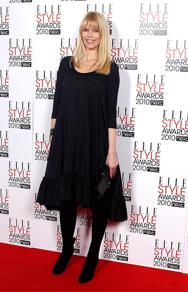 "A radiant Claudia Schiffer covered her baby bump with an Emma Cook frock. The supermodel and hubby Matthew Vaughn are expecting baby #3 in May. Mike Marsland/<a href=""http://www.wireimage.com"" target=""new"">WireImage.com</a> - February 22, 2010"
