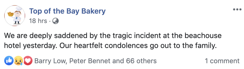 The bakery took to social media to say it was saddened by the tragedy. Source: Facebook