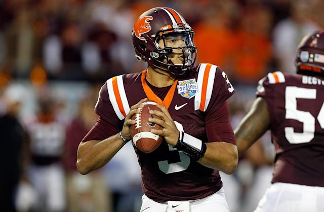ORLANDO, FL - DECEMBER 28: Quarterback Logan Thomas #3 of the Virginia Tech Hokies looks for an open receiver against the Rutgers Scarlet Knights during the Russell Athletic Bowl Game at the Florida Citrus Bowl on December 28, 2012 in Orlando, Florida. (Photo by J. Meric/Getty Images)
