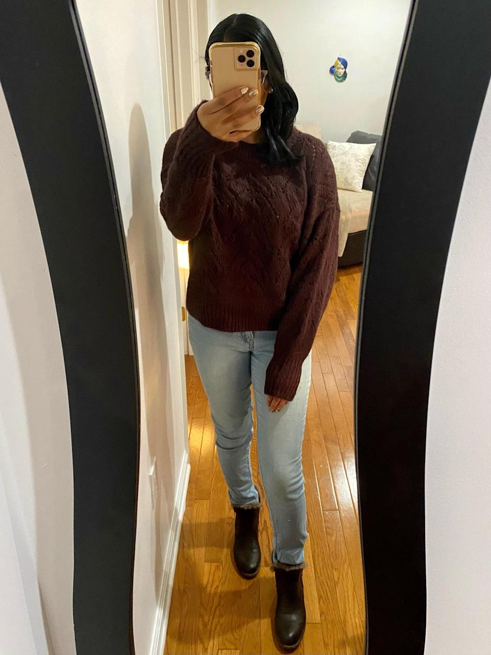 "<p><strong>The Style:</strong> <span>Old Navy Cozy Pointelle-Knit Crew-Neck Sweater</span> ($38, origially $40)</p> <p><strong>The Review:</strong> ""This sweater is incredibly comfortable! I love that I can wear it as work from home loungewear as well as out to dinner or a pumpkin patch. It's convenient to be able to dress it up or down. It's pretty thick and warm so it's perfect for the upcoming chilly weather - coming from someone who lives in the northeast. It comes in gorgeous earth-toned autumn colors. I chose a size XS and it's a loose, oversized fit. This definitely embodies cozy fall vibes."" - Anvita Reddy, editorial coordinator, Shop</p>"